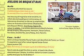Atelier rencontre autour de l'album En voiture, à pédales, à l'occasion de Citérama de Valenciennes, en école maternelle et en C.L.I.S.