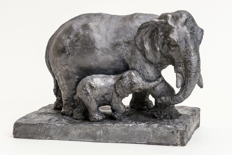 Famille du Siam - Sculpture terre cuite patinée - Sculpture Anne Moreau-Vagnon
