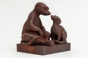 Suricates - Sculpture terre cuite patinée - Sculpture Anne Moreau-Vagnon