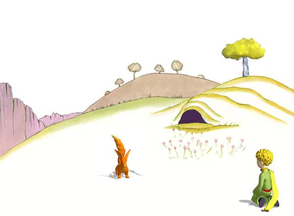 e renard et le petit prince, dessin d'Antoine de Saint Exupéry