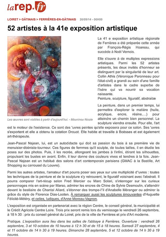 Article de La république du centre à propos de l'exposition artistique de Ferrières en Gatinais (2014)