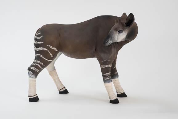 Okapi, terre cuite et fils de coton, sculpture Anne Moreau-Vagnon